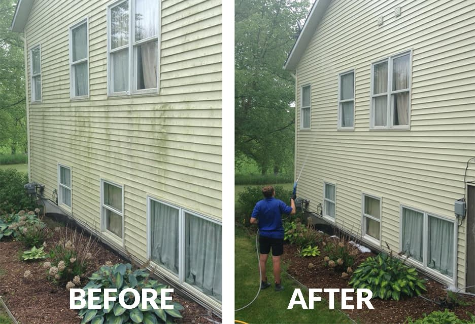 powerwashing siding before and after