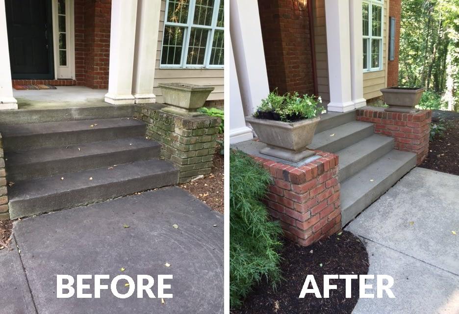 sidewalk powerwashing before and after